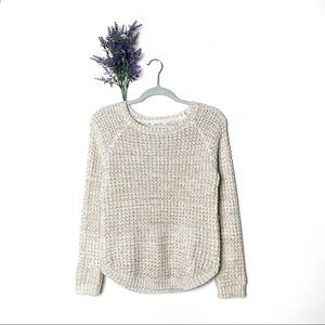 Cream Zara Girls Metallic Chunky Open Knit Sweater